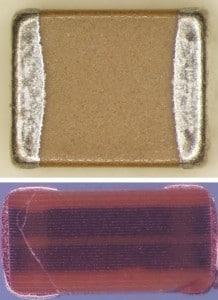 Electro-acoustic scan finds cracks in ceramic capacitors
