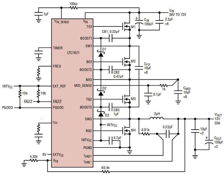 Hybrid dc-dc converter stirs switched capacitor into buck step-down