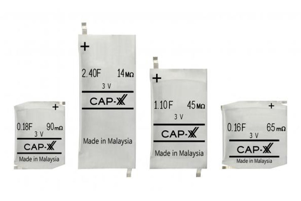 CAP-XX Prismatic 3V Supercapacitors Enhance Performance with Wearables, Sensors, Coin Cells and Energy Harvesters