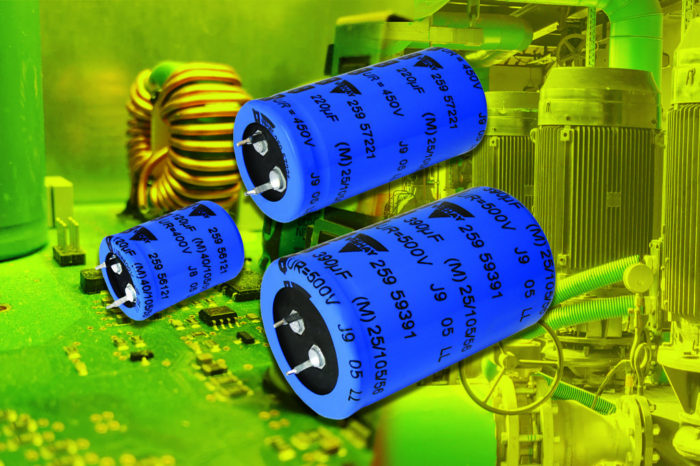Vishay Snap-in Power Aluminum Capacitors Save Space, Lower Costs for Power Supplies, Solar Inverters, and Motor Controls