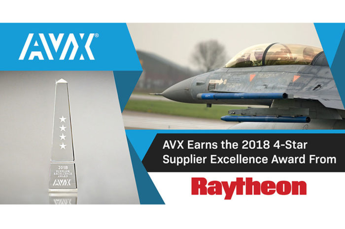 AVX Receives 4-Star Supplier Excellence Award From Raytheon
