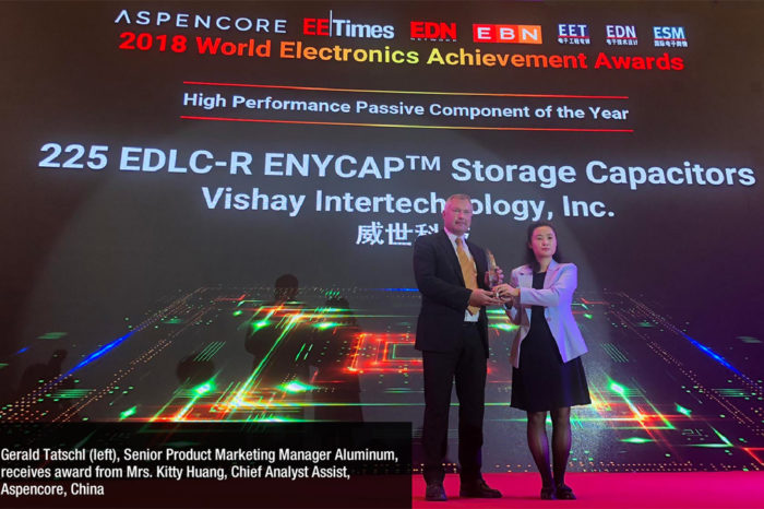 Vishay EDLC-R ENYCAP Honored With 2018 AspenCore World Electronics Achievement Award