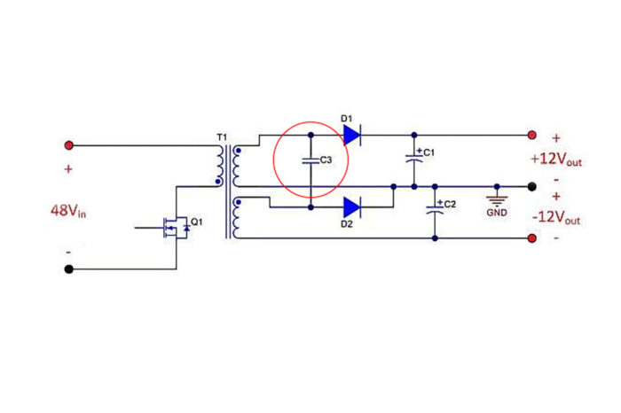 Adding a single capacitor to improve cross-regulation in dual-output flyback power supplies