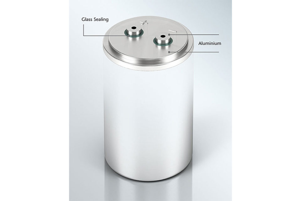 Glass-sealed lids can miniaturize and improve reliability of supercapacitors and electrolytic capacitors