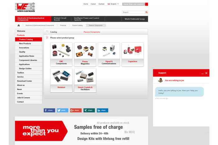 Würth Elektronik website chat function now offering individual support with the very first online contact