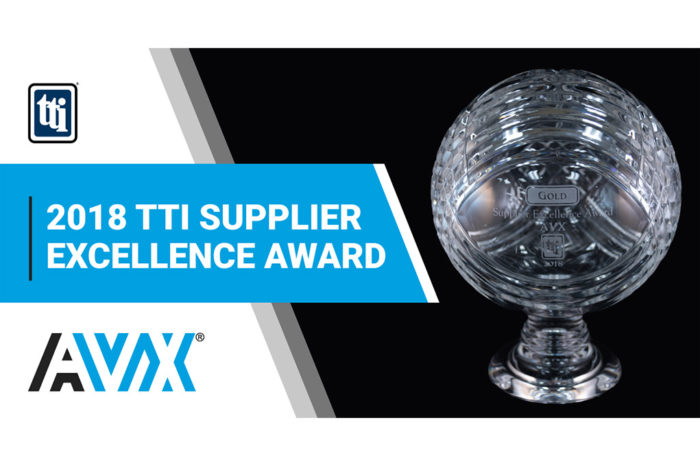 AVX earns 2018 TTI Supplier Excellence Award in the Americas