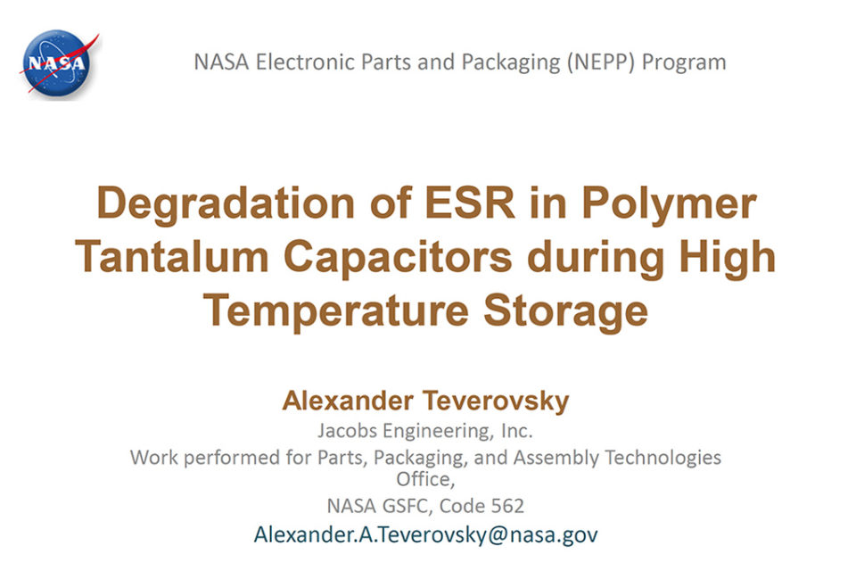 Degradation of ESR in Polymer Tantalum Capacitors during High Temperature Storage BEST PAPER AWARD