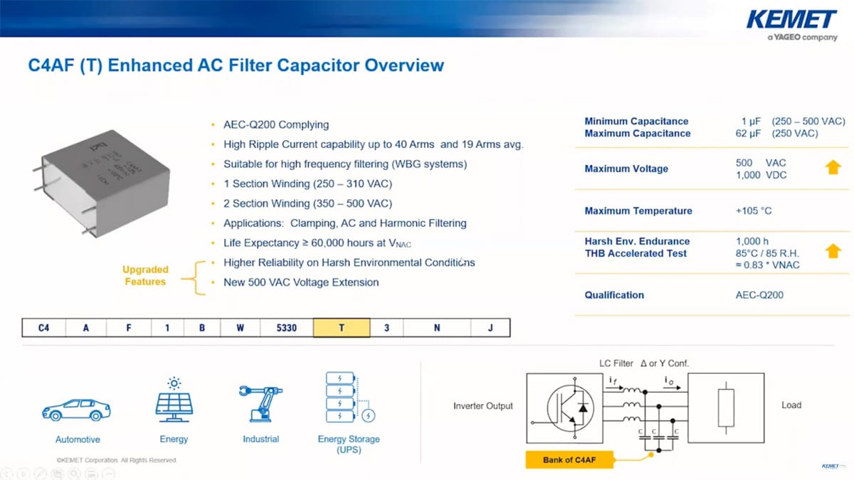 Power-Box Film Capacitors Ready for IGBT and MOSFET; Kemet Webinar